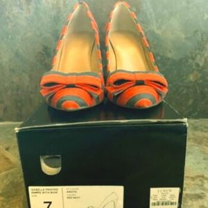 J. Crew Factory Isabelle Pumps w/Bow Red and Navy